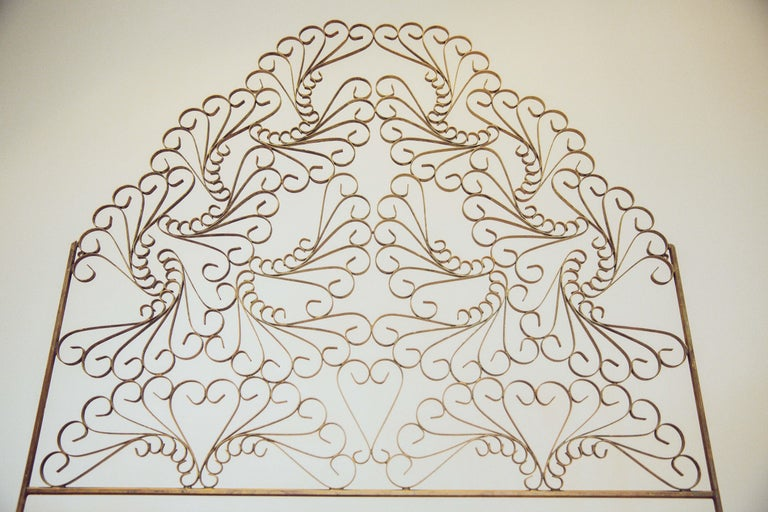 Mid-20th Century Gilded Wrought Iron Vintage Headboard For Sale