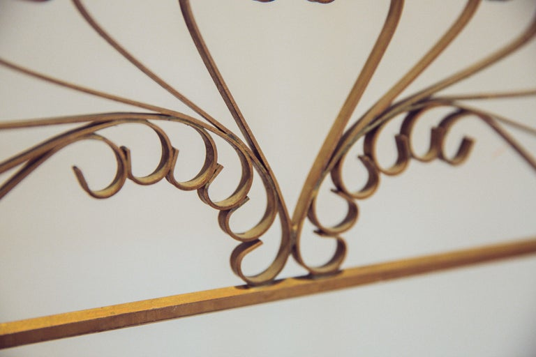 Gilded Wrought Iron Vintage Headboard For Sale 2