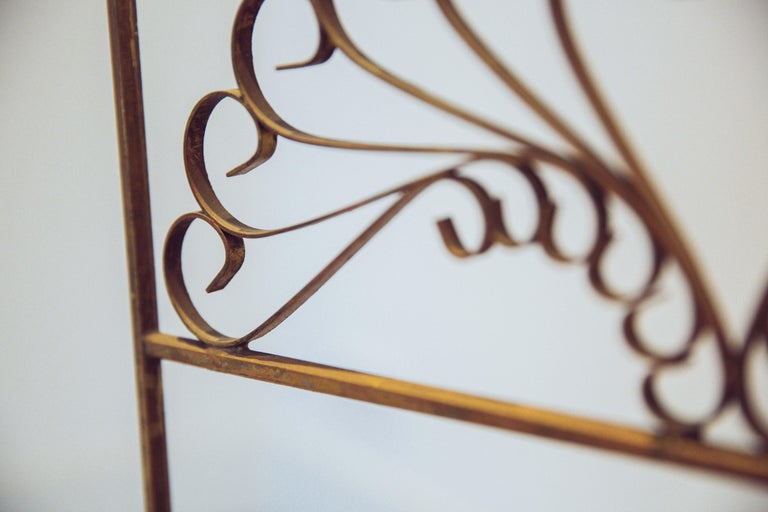 Gilded Wrought Iron Vintage Headboard For Sale 3
