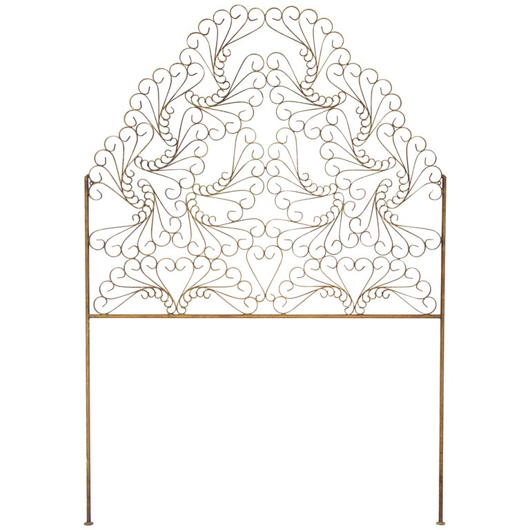 Gilded Wrought Iron Vintage Headboard For Sale