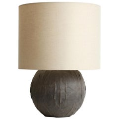 Giles Caffier Turtle Molded Ceramic Round Table Lamp, Made in Paris