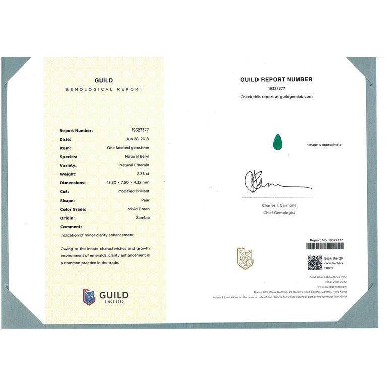 Gilin 18k White Gold 2.35 Carat Zambia Vivid Green Zambian Emerald Diamond Ring For Sale 1