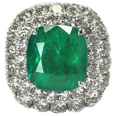 GILIN 18 K White Gold 5.28 Carat Muzo Columbian Emerald Diamond Cocktail Ring