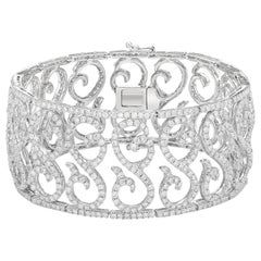Gilin 18 Karat White Gold 10.14 Carat Red Carpet Style Diamond Wide Bracelets