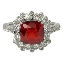 Gilin 18 Karat White Gold 1.85 Carat Burma No Heat Spinel Diamond Cocktail Ring