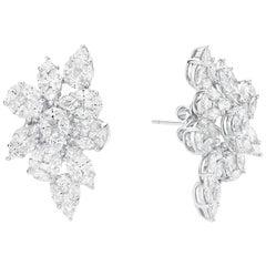 GILIN 18 Karat White Gold Harry Winston Style 8.67 Ct Cluster Diamond Earrings