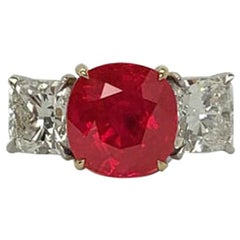 GILIN 18 Kt 5.013 Carat SSEF Certified Burma No Heat Ruby Diamond Solitaire Ring