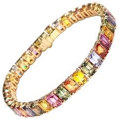 GILIN 18K Rose Gold Multi Color Sapphire Baguette Cut Bracelet
