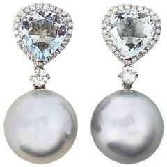 Gilin Aquamarine Diamond and Southsea Pearl Earrings