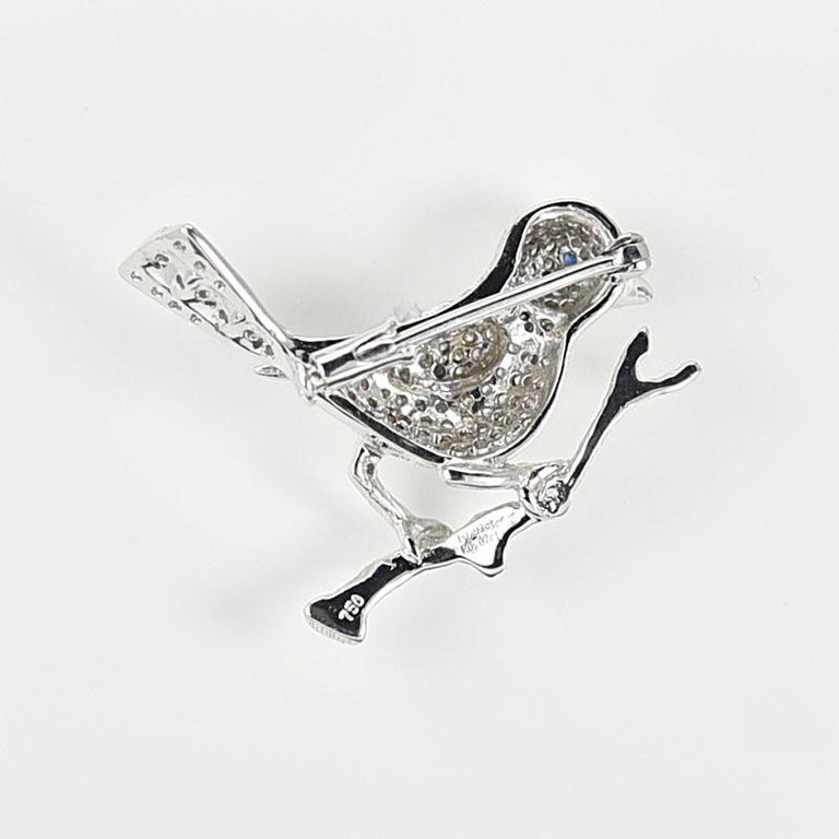 Women's or Men's Gilin Bird Brooch with Diamond and Sapphire in 18 Karat White Gold For Sale