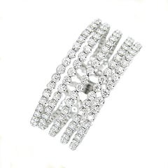 Gilin Diamond Cuff Bangle in 18 Karat White Gold