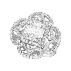 GILIN, Lili Magic 18 Karat White Gold 1.92 Carat Diamond Cocktail Ring