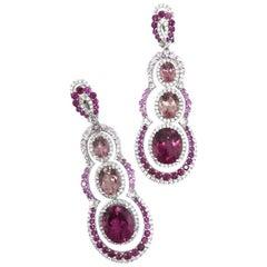 Gilin Tourmaline Rubelite Pink Sapphire and Diamond Party Earrings
