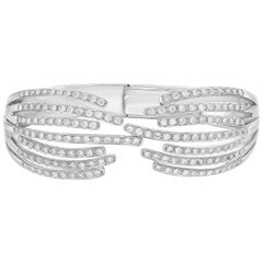 GILIN, Veins Collection 18 Karat White Gold Unique Diamond Open Style Bangle