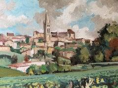 Saint Emilion with  its vineyards, little oil on canvas