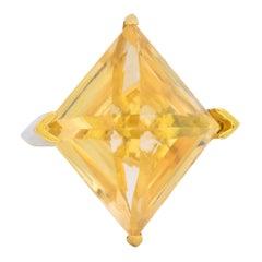 Gillian Packard 1968 British Modernist Citrine 18 Karat Gold Cocktail Ring