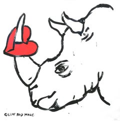 """His Heart Was Broken"" Rhinoceros Limited Edition Print on Cotton Rag Paper"