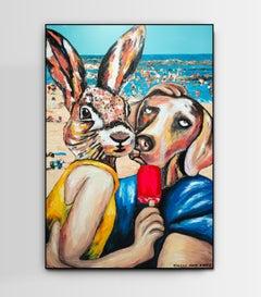 Original Painting - Pop Art - Gillie and Marc - Dog - Rabbit - Beach - Love Kiss