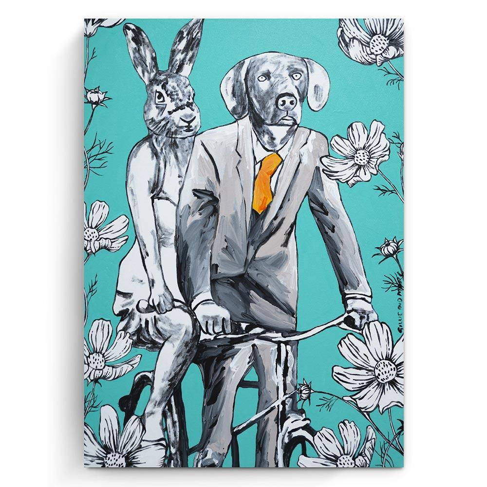 Original Painting - Pop Art - Gillie and Marc - Dog - Rabbit - Bicycle - Flowers