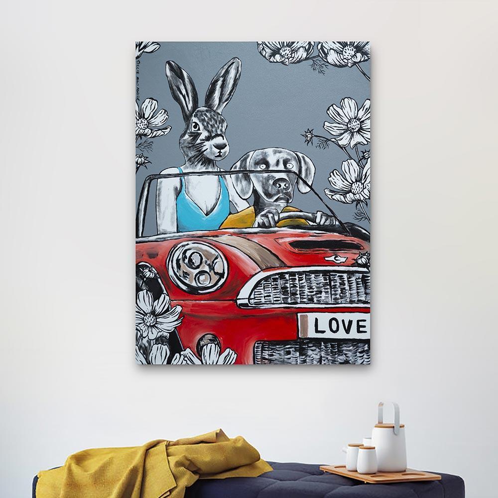 Original Painting - Pop Art - Gillie and Marc - Dog - Rabbit - Car Grey  Flowers