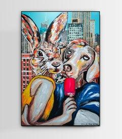 Original Painting - Pop Art - Gillie and Marc - Dog - Rabbit - City - Love Kiss