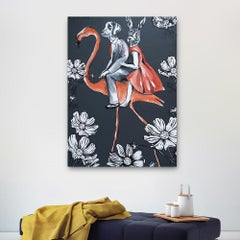 Original Painting - Pop Art - Gillie and Marc - Dog - Rabbit - Flamingo - Flower