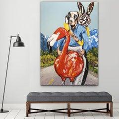 Original Painting - Pop Art - Gillie and Marc - Dog - Rabbit - Flamingo - Travel