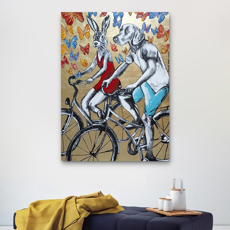 Original Painting - Pop Art - Gillie and Marc - Dog - Rabbit - Gold - Bicycle For Sale 1