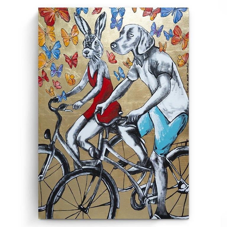 Gillie and Marc Schattner Figurative Painting - Original Painting - Pop Art - Gillie and Marc - Dog - Rabbit - Gold - Bicycle
