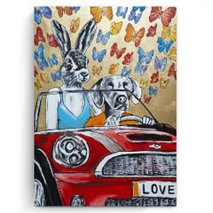 Original Painting - Pop Art - Gillie and Marc - Dog - Rabbit - Gold - Butterfly
