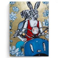Original Painting - Pop Art - Gillie and Marc - Dog - Rabbit - Gold - Flowers