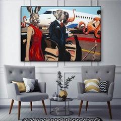 Original Painting - Pop Art - Gillie and Marc - Dog - Rabbit - Plane - Love