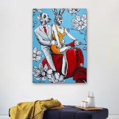 Original Painting - Pop Art - Gillie and Marc - Dog - Rabbit - Vespa - Flower