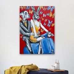 Original Painting - Pop Art - Gillie and Marc - Dog - Rabbit - Vespa - Red