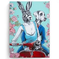 Original Painting - Pop Art - Gillie and Marc - Dog - Rabbit - Vespa - Roses