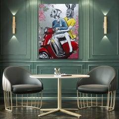 Original Painting - Pop Art - Gillie and Marc - Dog - Rabbit - Vespa - Silver