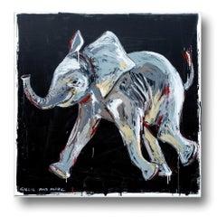 Painting - Gillie and Marc - Original Art - Colorful - Animal - Elephant Calf