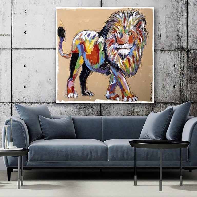 Painting - Gillie and Marc - Original Art - Colorful - Animal - Wild - Lion King For Sale 1