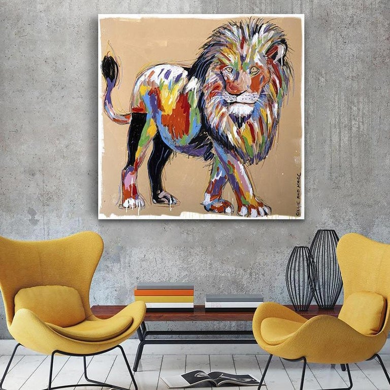 Painting - Gillie and Marc - Original Art - Colorful - Animal - Wild - Lion King For Sale 2