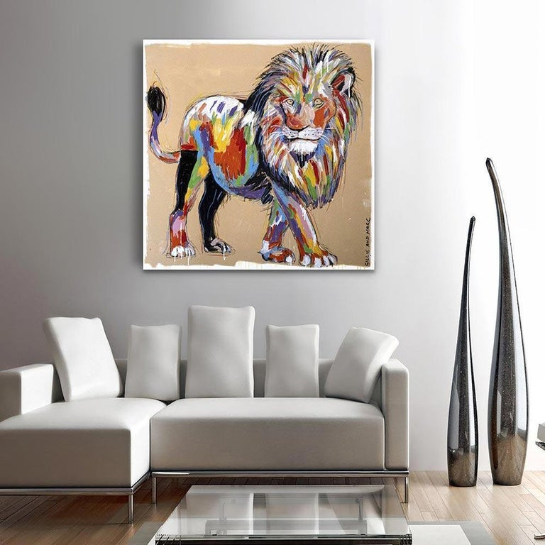 Painting - Gillie and Marc - Original Art - Colorful - Animal - Wild - Lion King For Sale 3