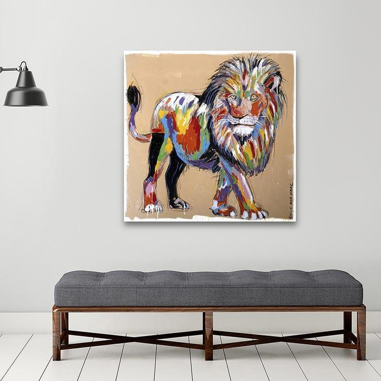 Painting - Gillie and Marc - Original Art - Colorful - Animal - Wild - Lion King For Sale 4