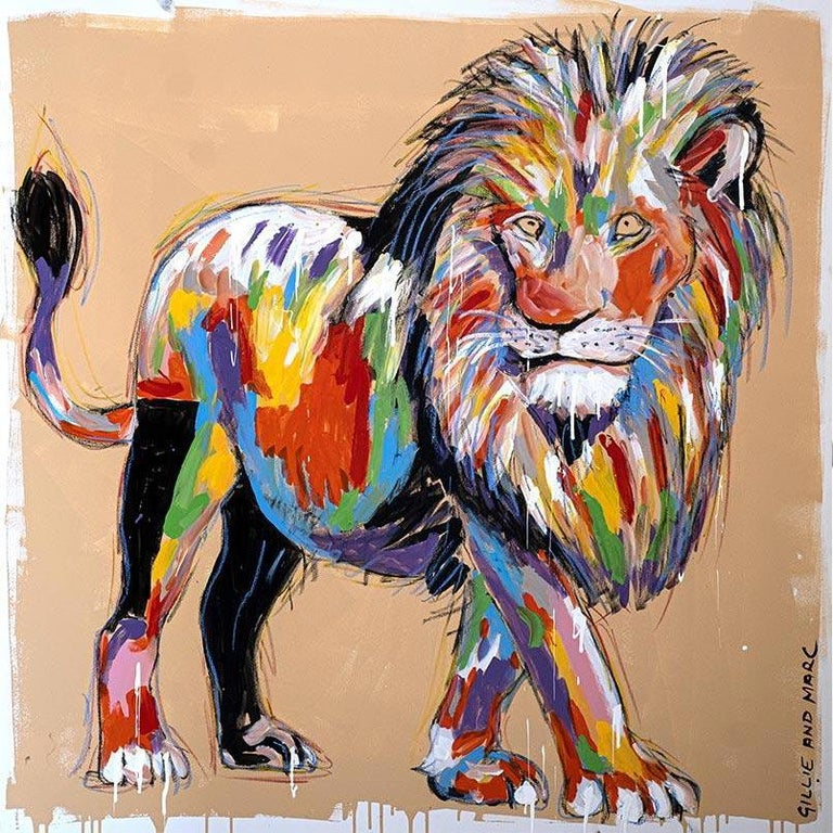 Title: He was king of it all Contemporary Expressive Animal Painting Series - Original Painting - Enamel and Oil Pastel on Canvas  World Famous Contemporary Artists: Husband and wife team, Gillie and Marc, are New York and Sydney-based contemporary