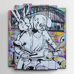 Painting - Gillie and Marc - Original Art - Animal - Sydney - Vespa Ride