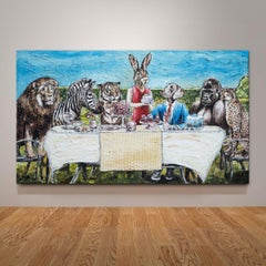 Painting - Gillie and Marc - Original Art - Animal - Wildlife - Cake - Party