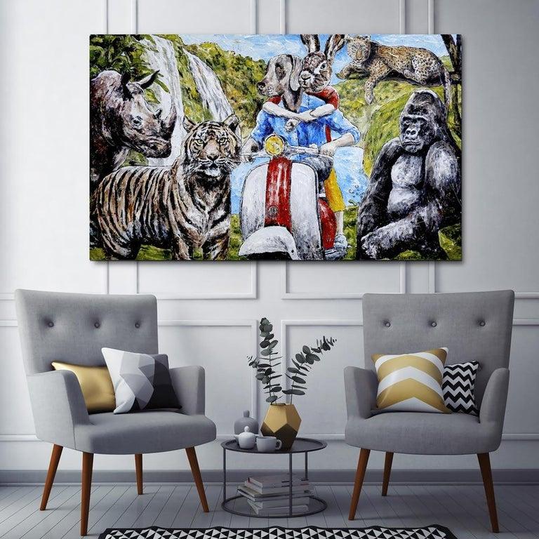 Painting - Gillie and Marc - Original Art - Animal - Wildlife - Vespa Ride For Sale 1