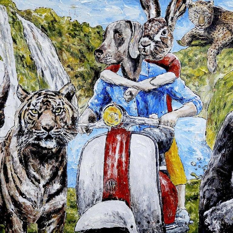 Painting - Gillie and Marc - Original Art - Animal - Wildlife - Vespa Ride For Sale 2