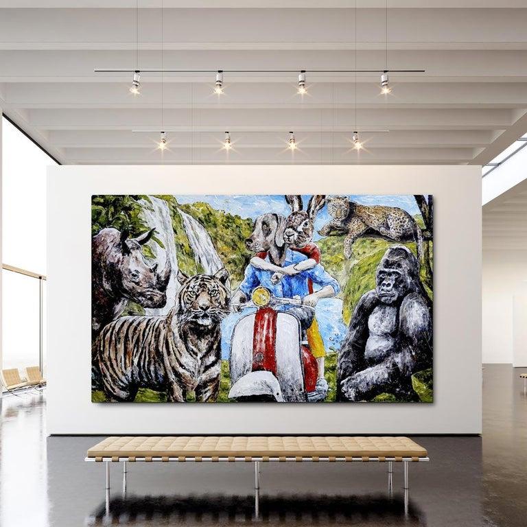 Painting - Gillie and Marc - Original Art - Animal - Wildlife - Vespa Ride For Sale 3