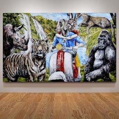 Painting - Gillie and Marc - Original Art - Animal - Wildlife - Vespa Ride