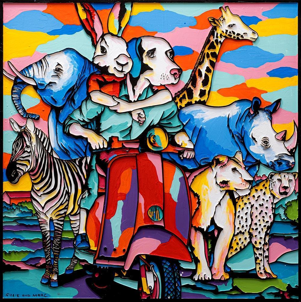 Painting - Gillie and Marc - Original Art - Woodcut - All Animals - Rabbit - Dog