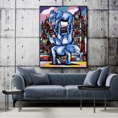 Painting - Gillie and Marc - Original Art - Woodcut - Elephant London City